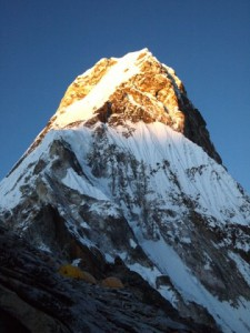 Camp 1 and the Ama Dablam in the evening sun