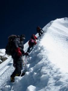 Climbing below the summit ridge on Ama